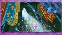 The Three Good Fairies make a sparkly descent amidst regal banners in this Visual Development still.