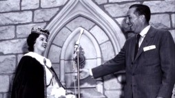 Princess for a Day Shirley Temple helps Walt Disney open up a Sleeping Beauty attraction well before the film's release in this photo from the History of the Castle Walkthrough featurette.