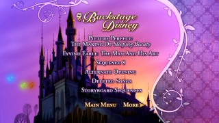 Disc 2's Backstage Disney menu flips the large border and turns it purple, but the idea is the same. The Three Good Fairies supply the animation here as they approach the castle at dusk.