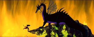 Prince Phillip clings to a cliff while fighting the enormous dragon that once was Maleficent.