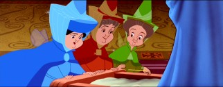 Merryweather, Flora, and Fauna observe the newly-christened Aurora, upon whom they'll bestow some great gifts.