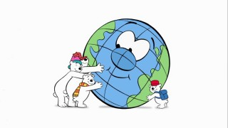 Arctic polar bears Jack, Bob, and Lou, plus their friend the ace cub reporter, show their love for planet Earth with big bear hugs.
