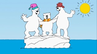 "Polar bears Jack, Lou, and Bob cling to an iceberg that global warming threatens in their ""Report from the North Pole."""