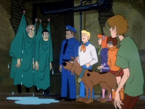 "Every episode of ""Scooby-Doo, Where Are You!"" ends with the gang revealing the bad guys and their motives. It's the Scooby-Doo ending."