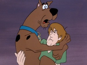 Scooby and Shaggy, the closest and least brave members of The Mystery Machine gang, embrace as they are known to.