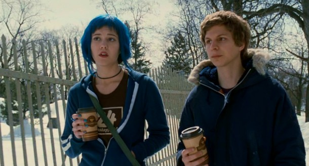 On a snowy coffee walk, Scott Pilgrim (Michael Cera) opens up about his one major ex to Ramona Flowers (Mary Elizabeth Winstead), the blue-haired girlfriend with seven evil ones.