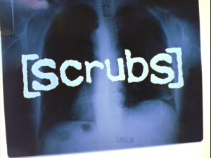"The ""Scrubs"" title logo seen at the brief start of each show."