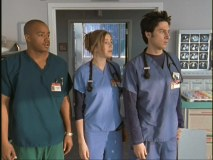 "The three interns at the center of ""Scrubs."""