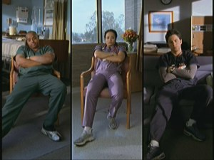 Turk, Carla, and J.D. endure some synchronized frustration.