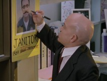Randall, a bald midget with a penchant for crotch kicks, is one of the most curious characters introduced in Season 3. In this deleted scene, he rubs out his fellow janitor's campaign poster. All part of democracy, I suppose!
