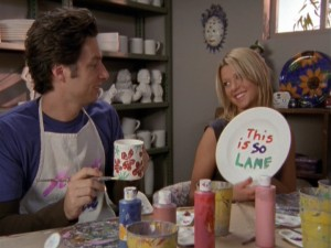 J.D. (Zach Braff) and Danni (Tara Reid), his girlfriend for much of Season 3, hold differing opinions on their art class date.