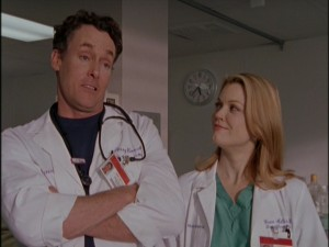 Dr. Cox (John C. McGinley) is somewhat attracted to Dr. Miller (Bellamy Young), a new attending surgeon who shares his passion for speechifying.