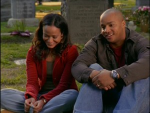 Nor does being in a cemetary prevent Carla and Turk from having a laugh.