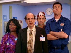 "Supporting characters of ""Scrubs"", unite! Laverne (Aloma Wright), Ted (Sam Lloyd), The Todd (Robert Maschio) and Janitor (Neil Flynn) stand together in protest of Carla's rejections."