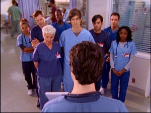 J.D.'s interns feature repeatedly throughout Season 5. They include the elderly Gloria (Christina Miles), the inept Cabbage (Shaughn Buccholz, center) and Elliot's booty call Keith (Travis Schuldt, second from left in back row).
