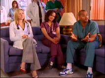 "Elliot, Carla, and Turk are among those who stage an intervention to advise J.D. against breaking up with perfect girlfriend Julie in ""Her Story II."""