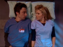 """Scrubs"" left viewers mulling over this closing image during the summer break. Though the third season seemed to resolve the J.D./Elliot question ""will they or won't they"" with the latter, fans of the couple have new reason to hope."