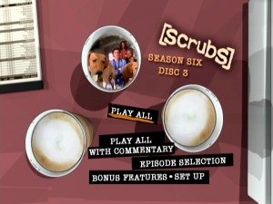 Each disc's animated Main Menu places a montage of Season 6 clips inside a coffee cup at an animated rendering of the series' new Coffee Bucks locale.
