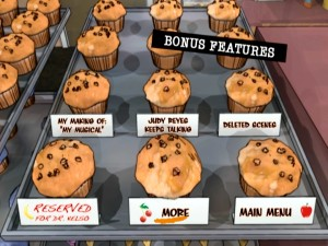 Disc 3's animated Bonus Features menus take us into the muffin shelf. This page is the site of the set's spoileriffic Easter Egg.