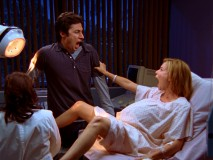 J.D. and Kim (Elizabeth Banks) approach the miracle of birth with mouths agape and emotions high.
