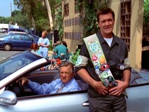 Dr. Kelso and flair-laden environmental officer Janitor observe what happens to someone who wrongly parked in a carpool space.