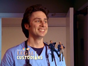 Legal Custodians, a Janitor/Ted sitcom J.D. creates in his mind, uses intrusive advertising now commonplace on today's television.