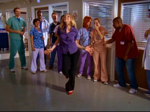 "In one of the season's rare and relatively low-key fantasy sequences, Dr. Elliot Reid (Sarah Chalke) performs her ""I told you so"" dance. It's only slightly less fancy in reality."