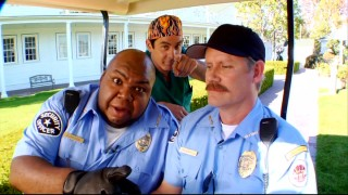 "Security guards Captain Duncook (Windell D. Middlebrooks) and Lieutenant Underhill (Steven Cragg) welcome a far funnier recurring character (The Todd, Robert Maschio) on their brief ""Live from the Golf Cart"" show."