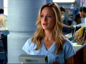 "In Season 9 of ""Scrubs"", medical student Lucy Bennett (Kerry Bishé) takes over as protagonist/narrator, slightly recalling the uncertain J.D. of the series' beginning."