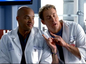 Despite holding the hospital's highest positions of authority, Doctors Turk (Donald Faison) and Cox (John C. McGinley) are not above some sophomoric gloating.