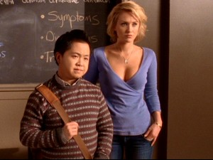 Oddly-paired Trang (Matthew Moy) and Maya (Nicky Whelan) feature as the season's quirky supporting med student characters.