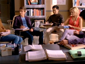 "As this unsightly shot of Lucy's study group illustrates, the ninth season of ""Scrubs"" was clearly composed for 1.78:1 hi-def broadcasts, rendering this cropped fullscreen DVD presentation compromised."