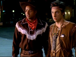 To teach them a lesson, Dr. Cox tricks Turk and J.D. into wearing cowboy and indian costumes to a non-themed party.