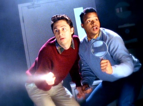 Best friends J.D. (Zach Braff) and Turk (Donald Faison) are an interracial version of the Hardy Boys, as they search for clues in this inspired fantasy sequence.