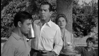 Wilson Daniels (Fred MacMurray) is not pleased with either the antics or smart-alecky coments of his teenaged son Wilby (Tommy Kirk).