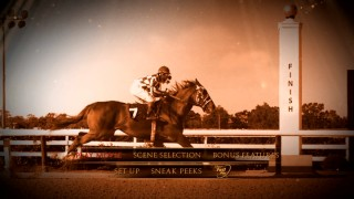 Secretariat rushes to the finish line in ultra-slow motion on the DVD's sepia-toned main menu.