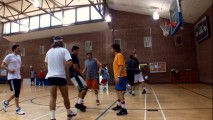 "Actors and athletes collide in basketball games seen in ""Recreating the ABA."" Recognize the guy in the bright yellow shirt?"