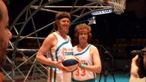 "Bill Walton and Will Ferrell pose for a picture together. There hasn't been this much hair on the court since ""Teen Wolf."""