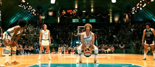 "In one of two instances in which the film pays homage to NBA-ABA-NBA star Rick Barry, Jackie Moon shoots his free throws in an underhanded ""granny shot."""