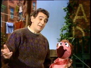 Placido Flamingo (right) gets to duet with his namesake, famed tenor Placido Domingo.