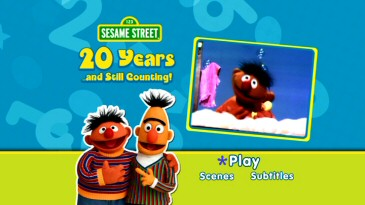 "Ernie and Bert are friendly on the DVD's animated main menu, which here shows the clip of Ernie singing ""Rubber Ducky"" that's translated into various languages in the special."