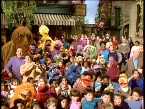 How many Sesame Street characters can you identify in this obligatory group shot from the special's musical finale?