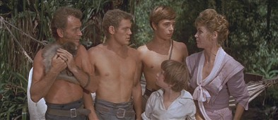 Swiss Family Robinson: bare chested men, Moochie, and Mom.