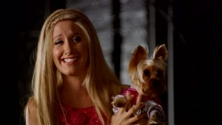Boi the dog's unpredictability causes Ashley Tisdale to crack up in the Bloopers reel.