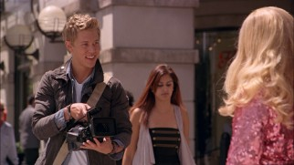 Peyton Leverett (Austin Butler) claims he's an NYU film student (and has the stickers to prove it), but his camera position suggests it's a different NYU than the one attended by Joel Coen, Martin Scorsese, Ang Lee, Oliver Stone, and Woody Allen.