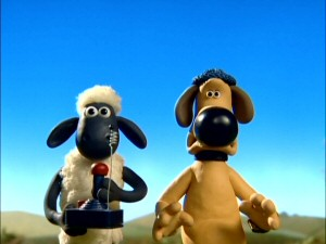 "Shaun and Bitzer join forces against the farmer's new robotic dog in ""Helping Hound."""