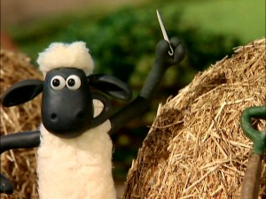 Shaun the Sheep proudly presents the proverbial needle in a haystack he just found.