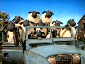 "Most ""Shaun the Sheep"" episodes end with a brief musical moment like this dancing sheep-in-jeep shot."