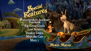 Puss and Donkey dance on a boat on the Special Features menus.