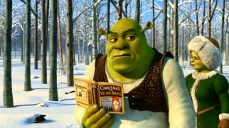"Shrek hopes to hide his lack of holiday experience from Fiona with the help of the book ""Christmas for Village Idiots."""